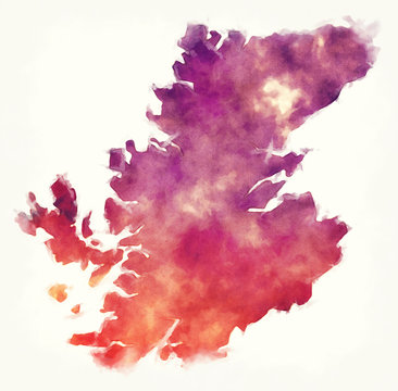 Highland region watercolor map of Scotland in front of a white background