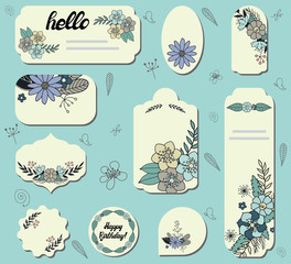 Set of different labels with doodle flowers. Collection with floral paper labels for announcements. Round, square, rectangular, shapes. Template for design, greeting cards,invitations and decoration.