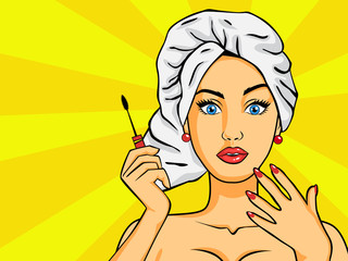 Woman after a shower in pop art style.