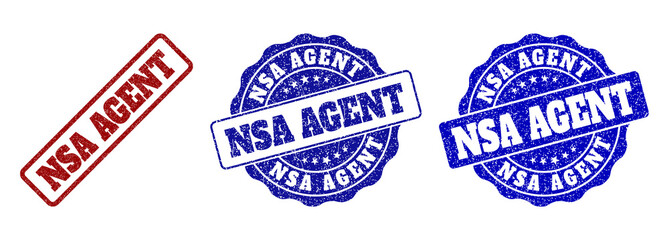NSA AGENT grunge stamp seals in red and blue colors. Vector NSA AGENT labels with grunge effect. Graphic elements are rounded rectangles, rosettes, circles and text captions.