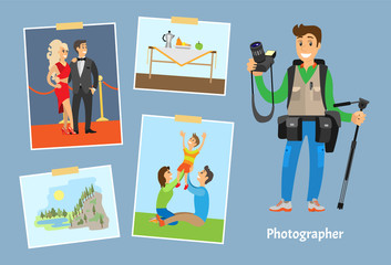 Photographer with Camera or Tripod and Photographs