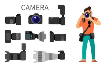 Photographer and Gear with Flash and Zoom Function