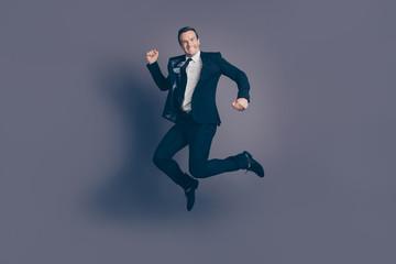 Full size length body studio photo portrait of funny funky humor