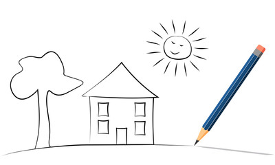 Blue pencil with eraser.  A vector illustration with drawing sketch as background.