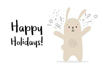 Happy holidays greetings card with cute rabbit. Vector cartoon animal illustration