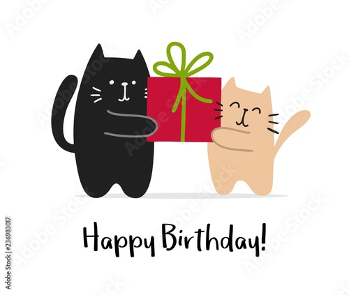 Happy Birthday Greetings Card With Two Cats And Big Red Gift Vector Animal Cartoon Illustration