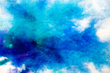blue, blurry spot of watercolor paint. background