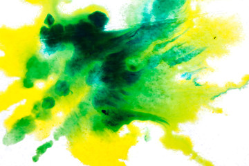 In de dag Aquarel Gezicht yellow green, blurry spot of watercolor paint. background