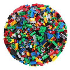 Circle of child's building blocks with clipping path