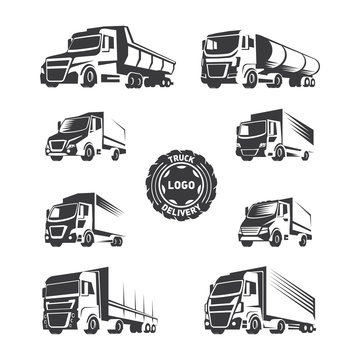 Trucks logo. Vector illustration of trucks in the same color style. Illustration for logos of cargo and shipping.