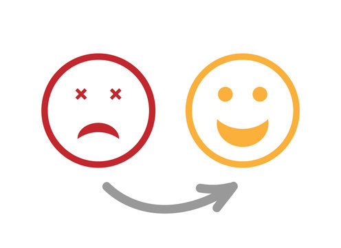 Set of emoji flat icons. Vector Emoticons. Changing Sad to Happy Mood Icons. Emotion Survey. Scale Customer Feedback or Service Satisfaction.