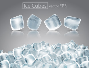 Cubes of ice with the effect of transparency and reflection. Highly realistic illustration.