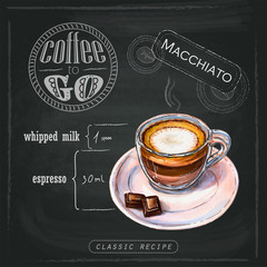 Illustration of a strong macchiato with a small amount of milk froth in the middle of a cup. Proportions of a coffee drink on a chalk board. Drawn by professional markers.
