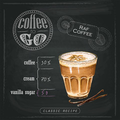 Illustration of Raf coffee flavored with vanilla and milk foam in a glass beaker. Proportions of a coffee drink on a chalk board. Drawn by professional markers.