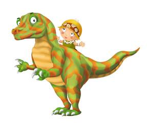 cartoon happy scene with caveman woman on dinosaur velociraptor on white background - illustration for children