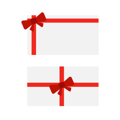 Gift cards with bows. Red christmas bow on gift card vector