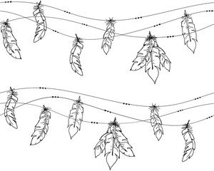 Vector seamless of ethnic decorative black contour feathers hanging on a string on light background. EPS10