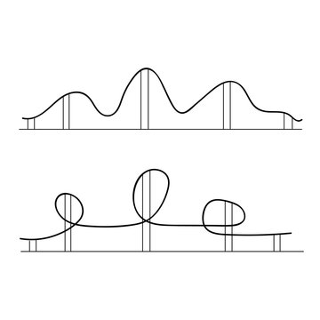 Roller coaster silhouettes. Rollercoaster park rollers vector.