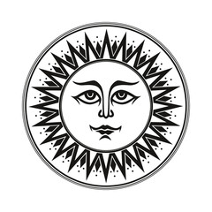 Vintage black and white ethnic ornament fresco occult smiling sun on white background