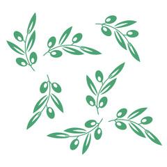 Olive tree pattern. Vector olives background. Olive texture
