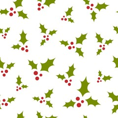 red and green holly berry on white background. seamless winter pattern. Christmas vector ornament.