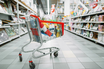 Cart full of goods in supermarket, nobody