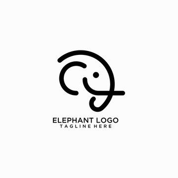 Elephant line logo design