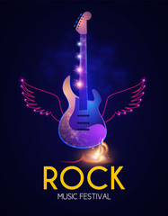 Rock Festival Design Template with Shining Guitar. Neon Wings and Fire.