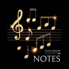 Music Notes Set with Treble Clef. Gold and Elegant Design Elements.