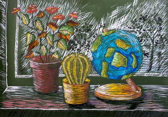 """Children's gouache painting """"Still Life with Plants and Globe"""""""