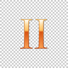Golden Roman numeral number 2, II, two in alphabet letter isolated on transparent background. Ancient Rome numeric system. Vector Illustration