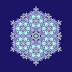 Flat design with abstract snowflakes isolated on blue background. Vector Snowflakes mandala.