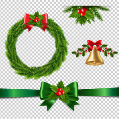 Christmas Set Isolated Transparent Background