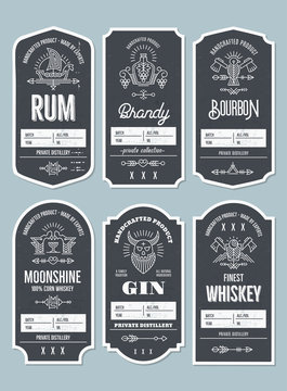 Set of vintage bottle label design with ethnic elements in thin line style