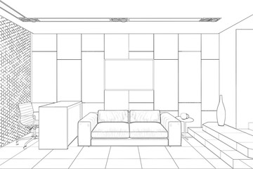3d illustration. Sketch of a reception in a modern office