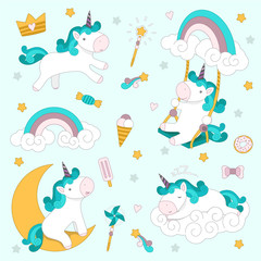 Set with unicorns, rainbow, ice cream and other sweets. Vector illustration.
