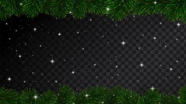 Christmas border with fir tree branches, sparkles and snow isolated on dark background. Vector design element for holiday card decoration or banner