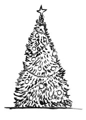 Black brush and ink artistic decorative rough grunge hand drawing of Christmas tree.
