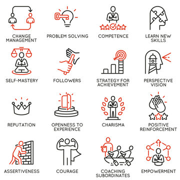 Vector set of linear icons related to skills, empowerment leadership development and qualities of a leader. Mono line pictograms and infographics design elements - part 6