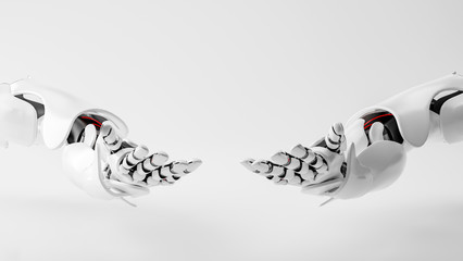 Close up of two robotic hands with copy space