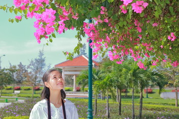 woman traveling to Ham Rong bridge in Thanh Hoa, Vietnam