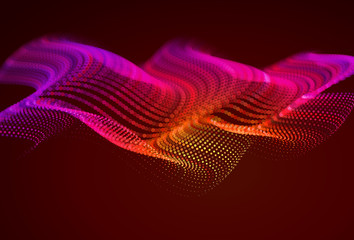 Foto auf Leinwand Braun Abstract colorful digital landscape with flowing particles. Cyber or technology background. Red, pink, orange colors.