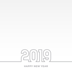 Happy New Year 2019 card theme. gray line on white vector background