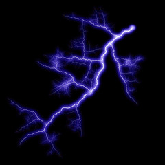 Isolated realistic violet electrical lightning strike visual effect on black night background. Energy change.