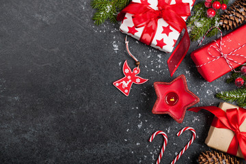 Christmas background with gift boxes and decorations