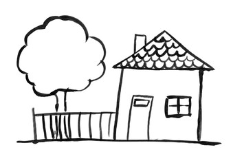 Black brush and ink artistic rough hand drawing of small family house with tree and garden fence.