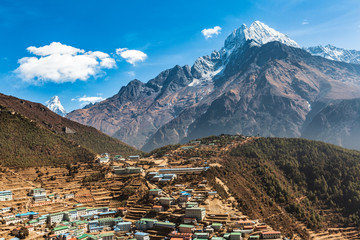 Namche bazar. Everest trek. Sagarmatha national park, Nepal. View of Thamserku mountain