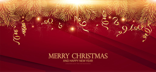 Merry Christmas Elegant Design Template. Gold Fir Tree Branches, Serpentine and Light Effect.