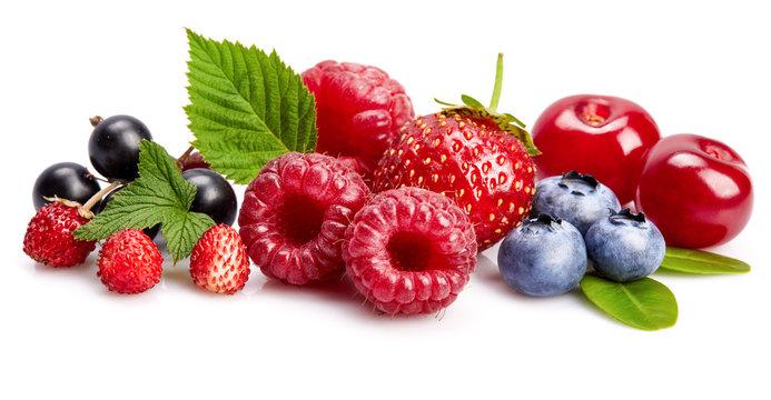 Set fresh berry. Mix summery fruit raspberry strawberry currant