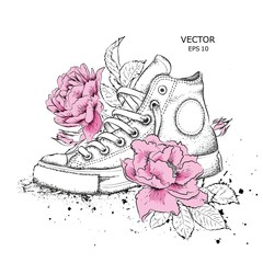 Floral background of peonies and shoes. Drawn sneakers in beautiful colors. Delicate print for women's clothing, notebooks and more. Vector illustration